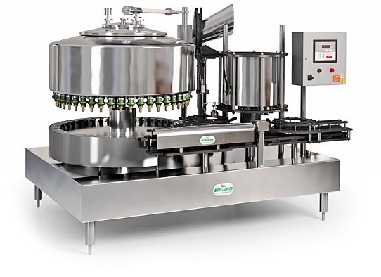 A monobloc filler, part of Filler Specialties Inc.'s line of gravity liquid filling machine systems.